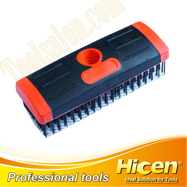 Black Steel Wire Brush With Bi-Color Plastic Handle