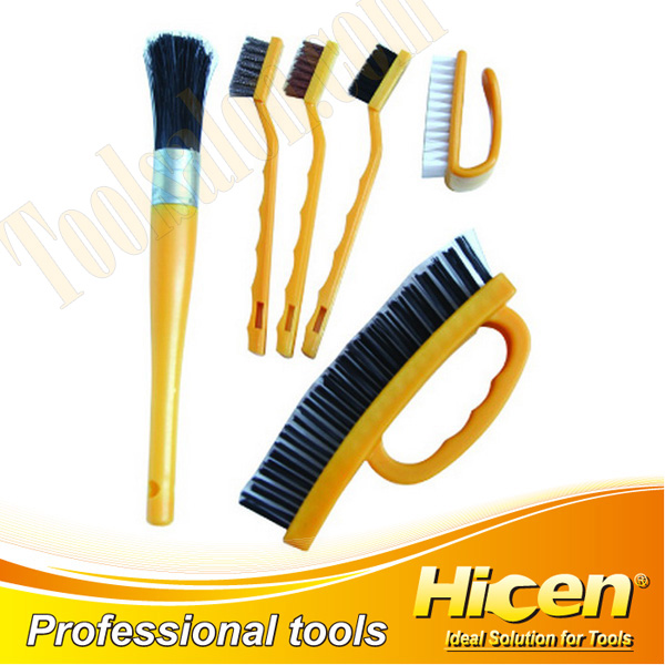 6 PCS Wire Brush Set with Plastic Handle