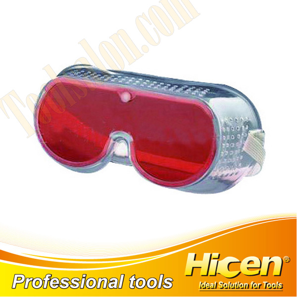Soft Red PC Lens Transparent PVC Frame Safety Goggles