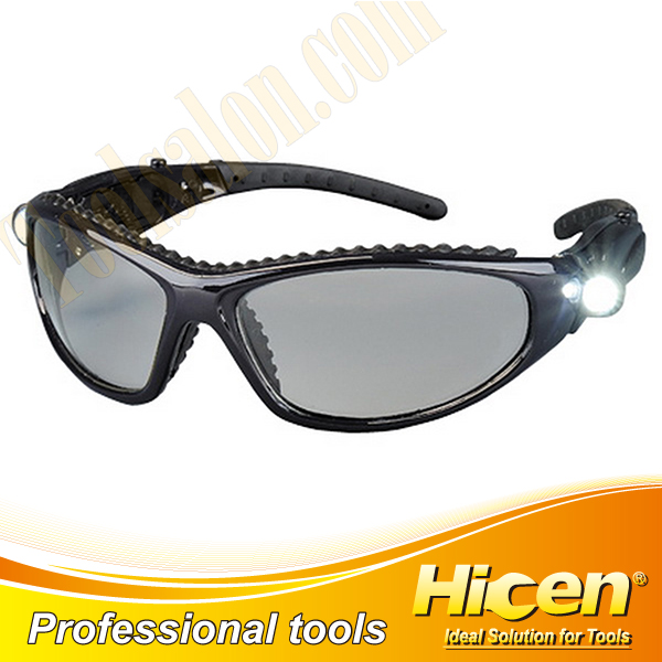 PC Lens Rubber Coated Legs Safety Glasses with LED Lights