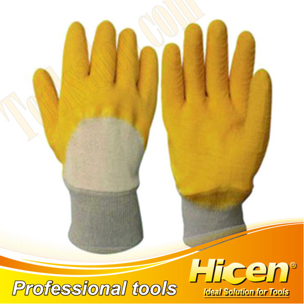 High Quality Yellow Latex Coated Knit Wrist Working Gloves