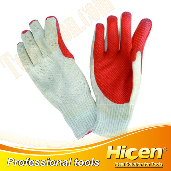 Half Latex Coated Knit Cotton Liner Wrist Working Gloves