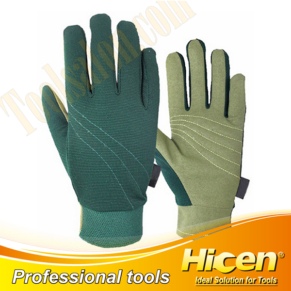 Green Synthetic Leather Garden Gloves
