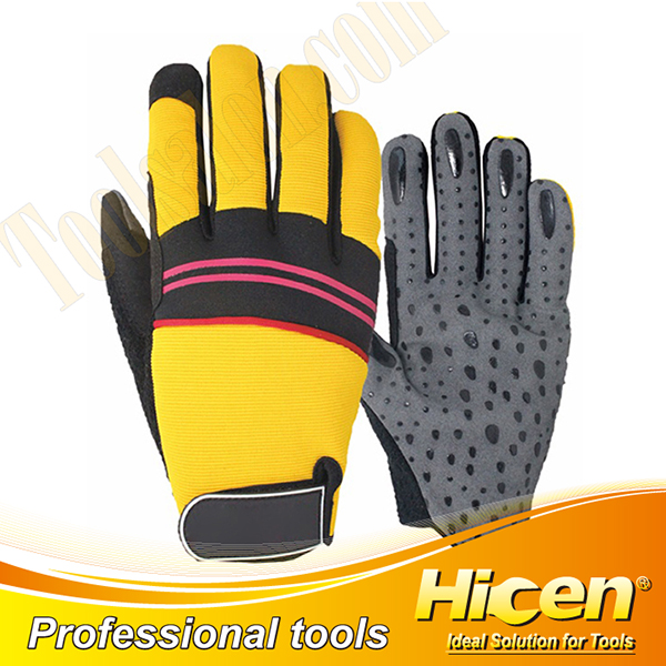 Silicone Slip Resistant Grey Synthetic Leather Gloves