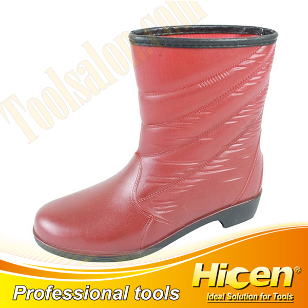 Red Imitation Leather PVC Lady Rain Boots