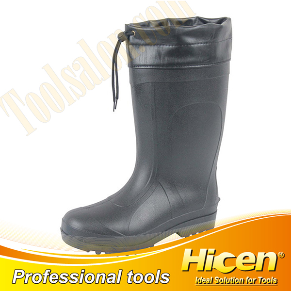 Black PVC Men Safety Boots with Cotton Lining